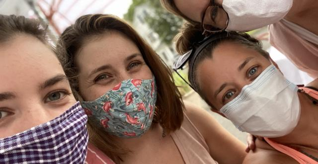Associate Lori Wilson (right) with her three daughters during the COVID-19 pandemic summer of 2020.