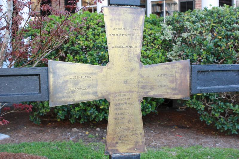 Epidemics since Philippine's time: Cross in the garden at the Academy