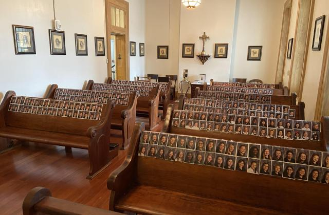 photos of students in the pews at the Shrine of Saint John Berchmans